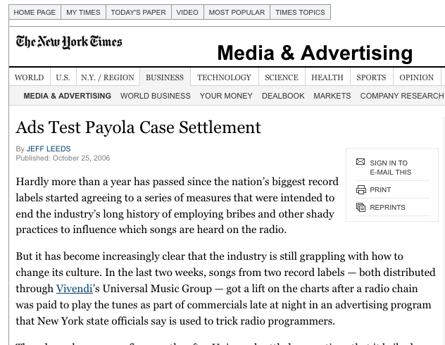 Ad Test Payola Case Settlement